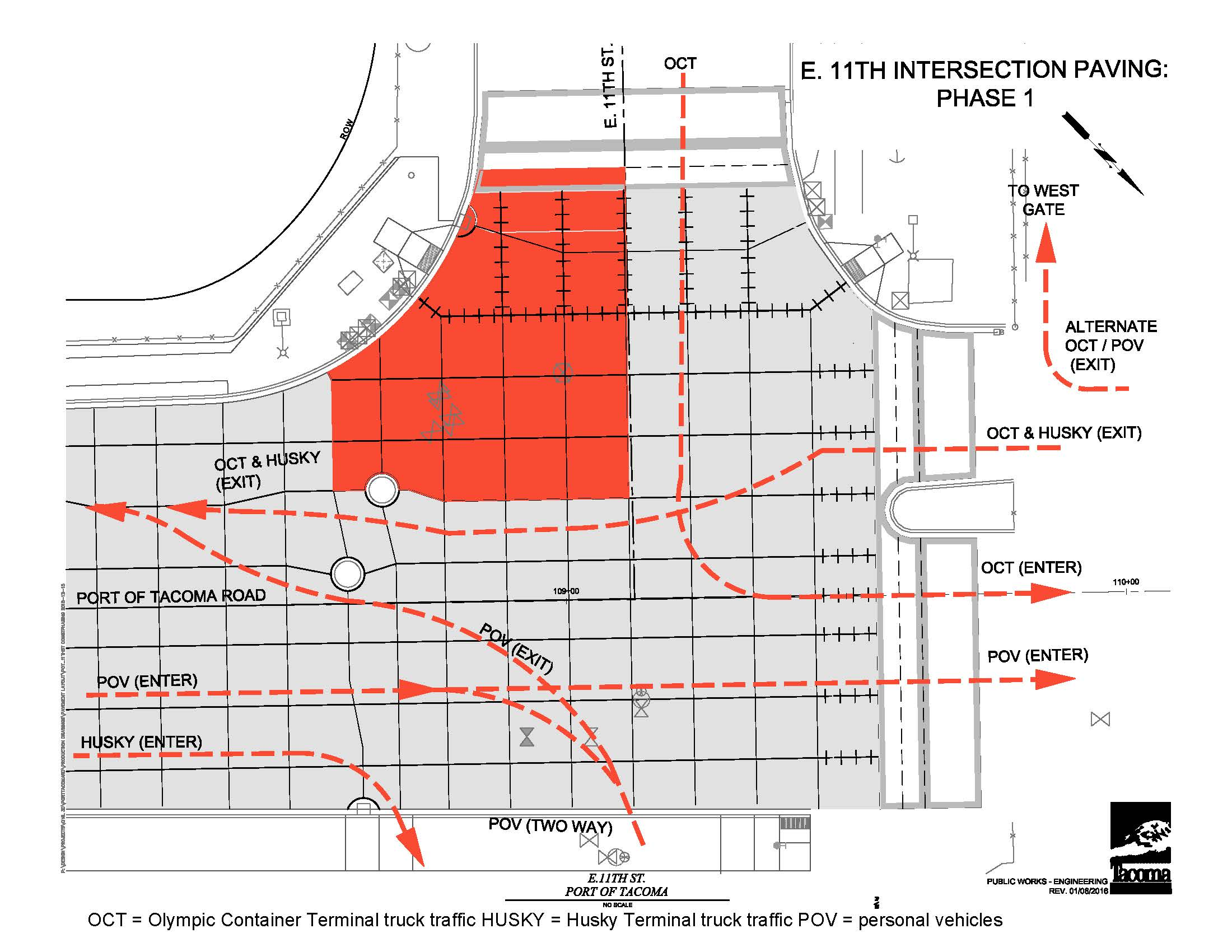 Traffic Map Tacoma.Construction Of Final Port Of Tacoma Road Intersection Begins Monday